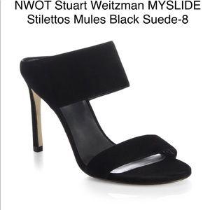 NWOT Stuart Weitzman Black MYSLIDE Stiletto Mule-8